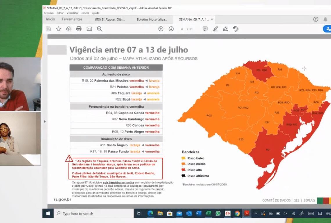 Governador Eduardo Leite atualiza análise de recursos sobre as bandeiras no RS Foto: Reprodução/YouTube