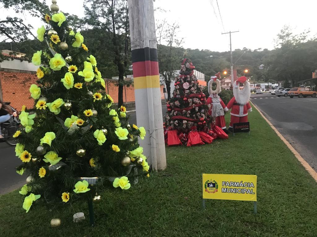 Pinheirinhos são adornados por diversas empresas e entidades da cidade Foto: Lilian Moraes